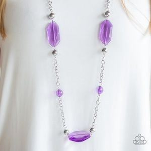 Purple Beaded Long Necklace